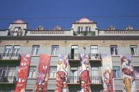 characters decorating a building